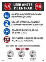 "Stop Read Before Entering Spanish Safety Posters | PST155SP | 24"" x 18"" 