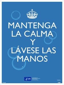 "Keep Calm And Wash Your Hands Spanish Safety Posters | PST156SP | 24"" x 18"" 