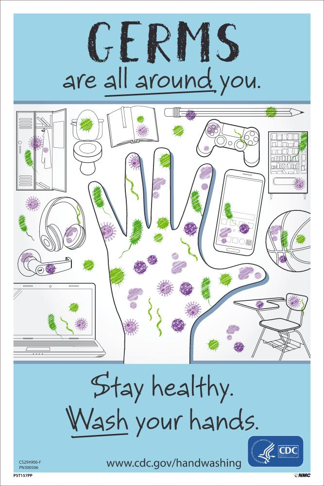 Germs Are All Around You Stay Healthy Wash Your Hands Safety Posters | PST157PP | 18