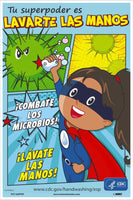 "Handwashing Is Your Superpower Fight Off Germs Wash Your Hands Spanish Safety Posters | PST165PPSP | 18"" x 12"" 
