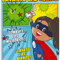 "Handwashing Is Your Superpower Fight Off Germs Wash Your Hands Spanish Safety Posters | PST165SP | 24"" x 18"" 