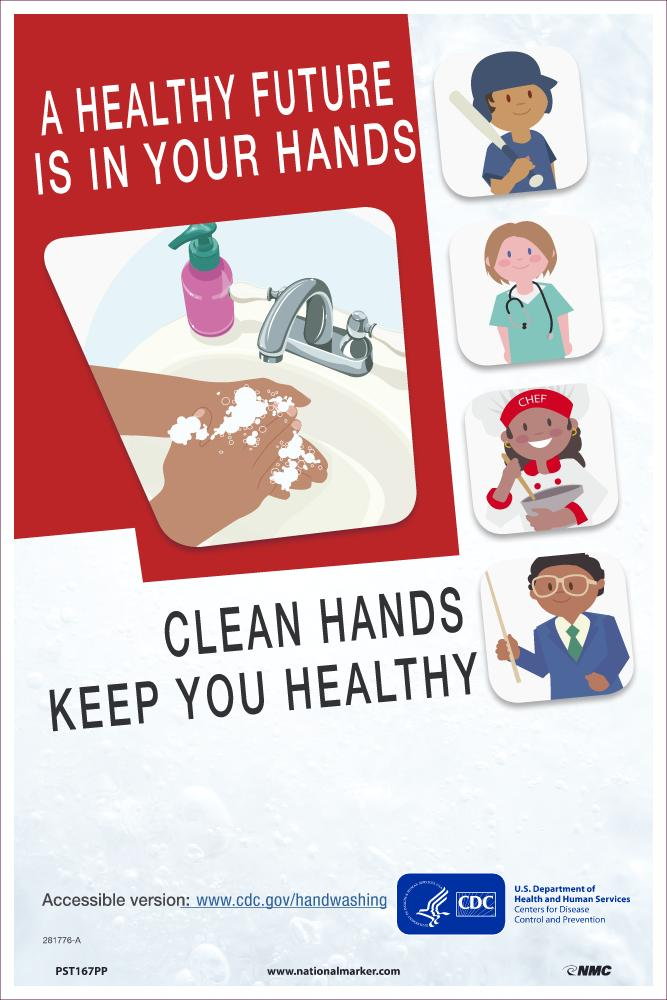 A Healthy Future Is In Your Hands Clean Hands Keep You Healthy Safety Posters | PST167PP | 18