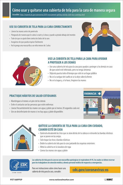 How To Safely Wear and Take Off A Cloth Face Covering Spanish Safety Posters | PST168PPSP | 18