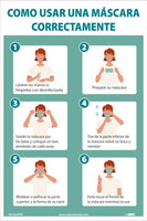 "How To Wear A Mask Properly Spanish Safety Posters | PST183PPSP | 18"" x 12"" 