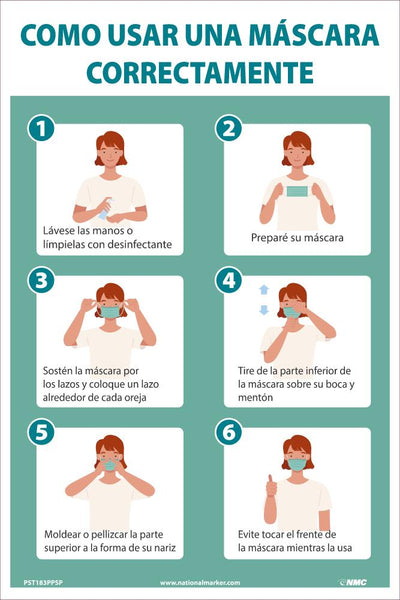 How To Wear A Mask Properly Spanish Safety Posters | PST183PPSP | 18