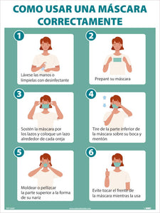 "How To Wear A Mask Properly Spanish Safety Posters | PST183SP | 24"" x 18"" 