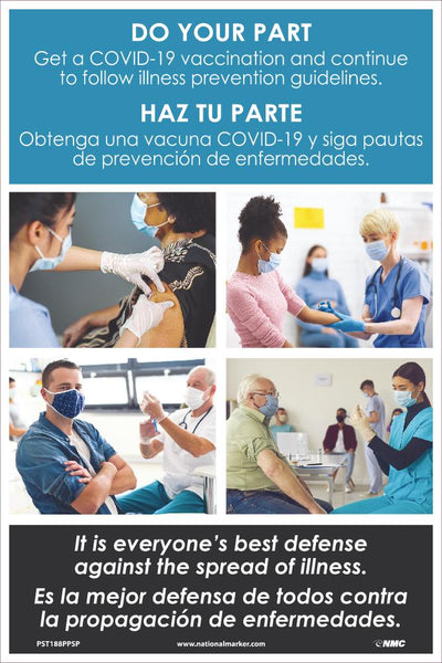 Do Your Part Get A Covid-19 Vaccination Spanish Safety Posters | PST188PPSP | 18