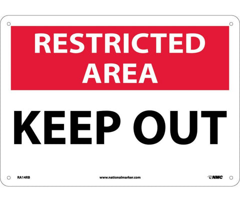 "RA14RB National Marker Keep Out Restricted Area Sign 10"" x 14"".050 Rigid Plastic"