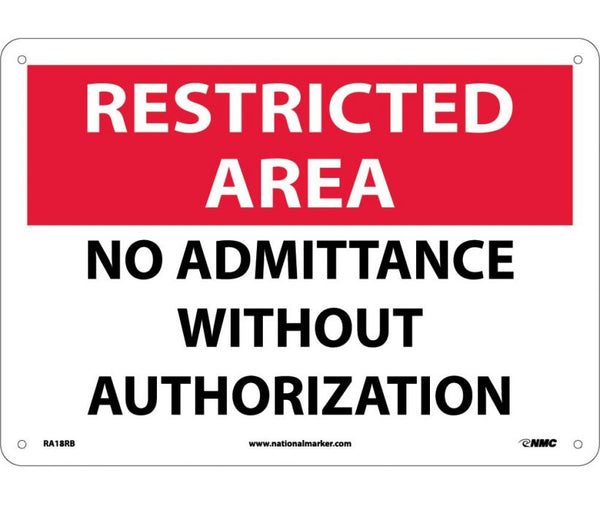 RA18 National Marker Admittance and Security Signs Restricted Area Withour Authorization