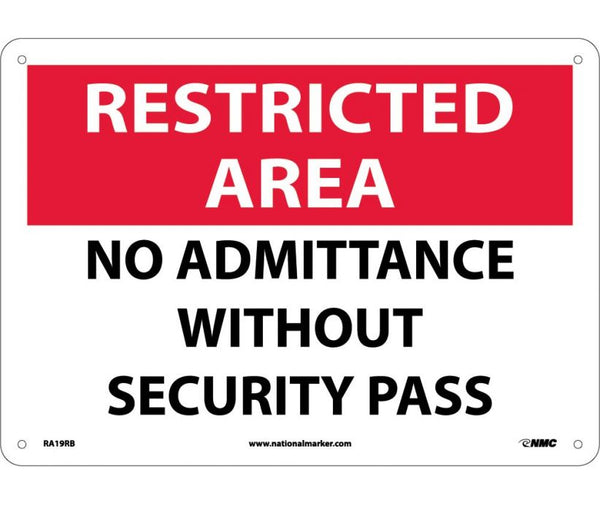 RA19 National Marker Admittance and Security Signs Restricted Area No Admittance Without Security Pass