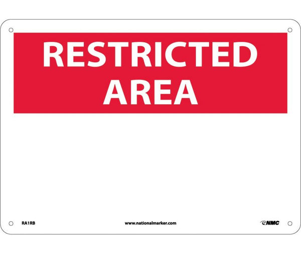 RA1 National Marker Restricted Area Header Signs: Blank