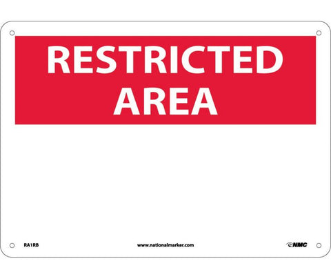 "RA1RB National Marker Authorized Employees Only Restricted Area Sign 10"" x 14"".050 Rigid Plastic"