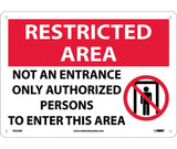 "RA23RB National Marker Not An Entrance Only Authorized Persons To Enter This Area Restricted Area Header Sign 10"" x 14"" .050 Rigid Plastic"