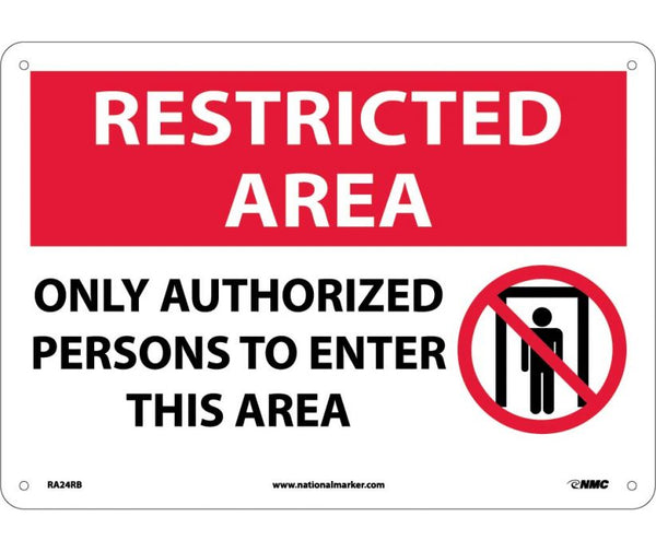 RA24 National Marker Admittance and Security Signs Restricted Area Only Authorized Persons To Enter This Area