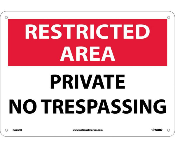 RA26 National Marker Admittance and Security Signs Restricted Area Private No Trespassing