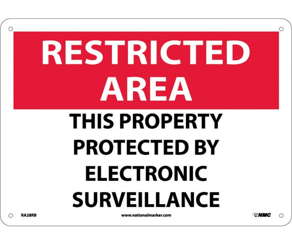 RA28 National Marker Admittance and Security Signs Restricted Area This Property Protected By Electronic Surveillance