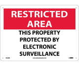 "RA28RB National Marker This Property Protected By Electronic Surveillance Restricted Area Header Sign 10"" x 14"" .050 Rigid Plastic"