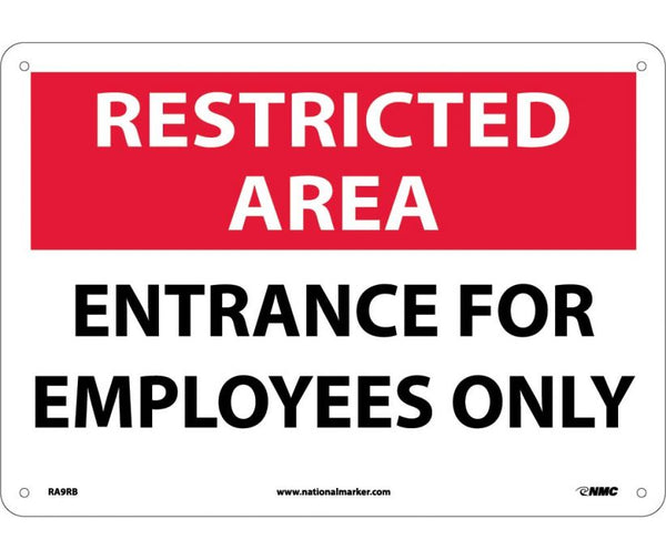 RA9 National Marker Admittance and Security Signs Restricted Area Entrance For Employee Only