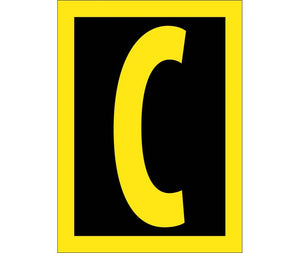 LETTER, C, 1.5 REFLECTIVE YELLOW BLACK, PS VINYL