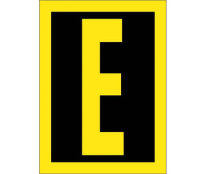 LETTER, E, 1.5 REFLECTIVE YELLOW BLACK, PS VINYL