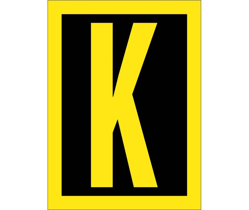 LETTER, K, 1.5 REFLECTIVE YELLOW BLACK, PS VINYL