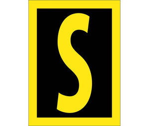 LETTER, S, 1.5 REFLECTIVE YELLOW BLACK, PS VINYL