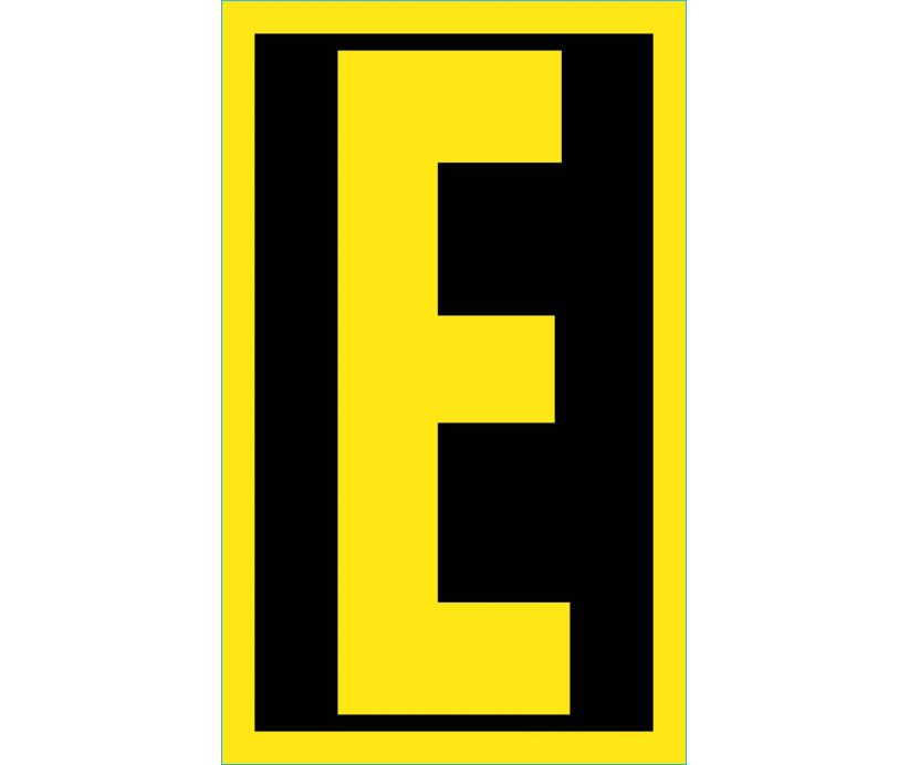 LETTER, E, 2.5 REFLECTIVE YELLOW BLACK, PS VINYL