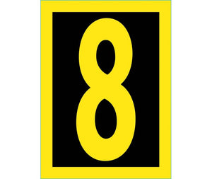 NUMBER, 8, 1.5 REFLECTIVE YELLOW BLACK, PS VINYL