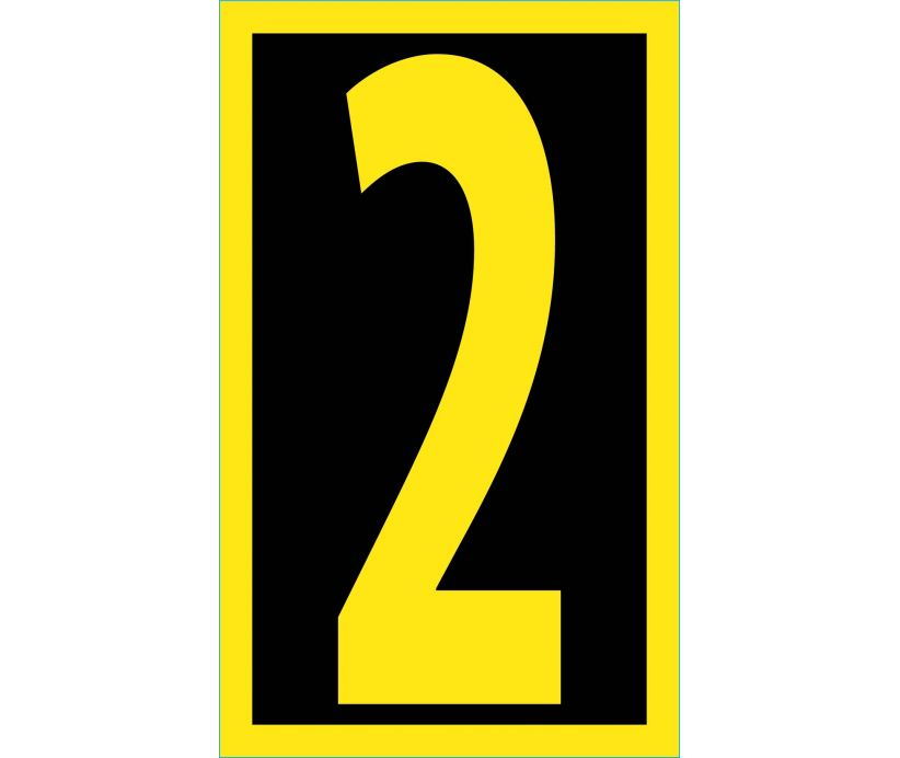 NUMBER, 2, 2.5 REFLECTIVE YELLOW BLACK, PS VINYL