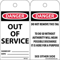 TAGS, DANGER, OUT OF SERVICE, 6X3, SYNTHETIC PAPER, 25/PK (HOLE)