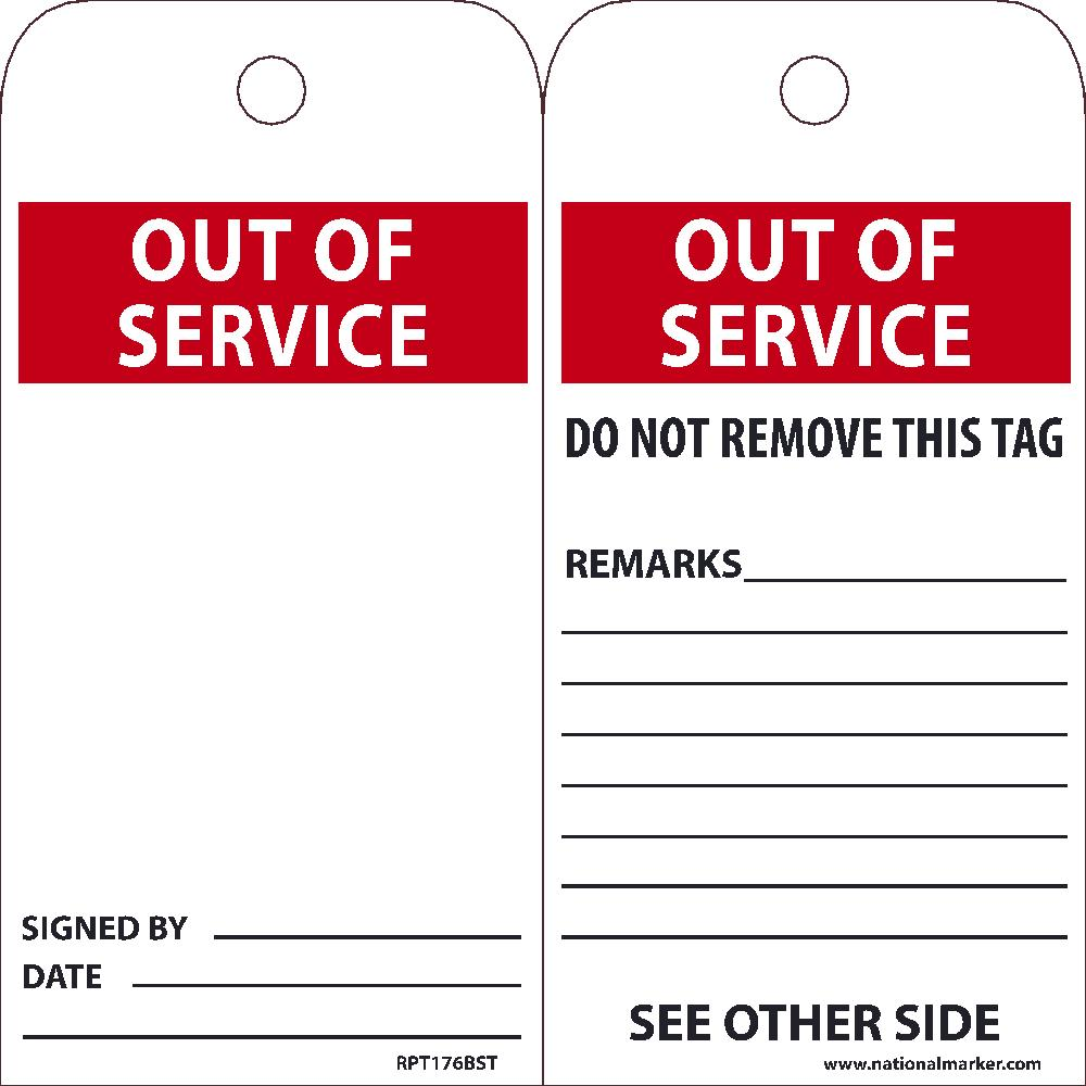EZ PULL TAGS, OUT OF SERVICE, 6X3, TAGS ON A ROLL, BOX OF 100