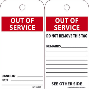 EZ PULL TAGS, OUT OF SERVICE, 6X3, TAGS ON A ROLL, BOX OF 250