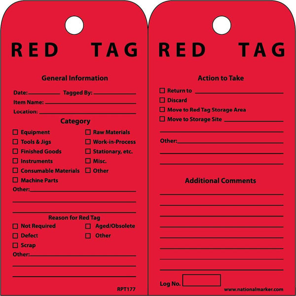 TAGS, RED TAG, 6X3, UNRIP VINYL, 25/PK