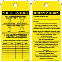 TAGS, SCAFFOLD INSPECTION THIS SCAFFOLDING HAS BEEN CONSTRUCTED TO SUPPORT, 6X3, POLYTAG, BOX OF 100