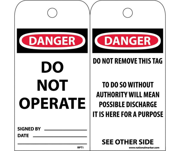 TAGS, DANGER DO NOT OPERATE, 6X3, POLYTAG, BOX OF 100