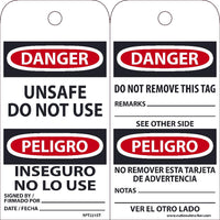 TAGS, DANGER, UNSAFE DO NOT USE, BILINGUAL, 25PK, 6X3, .010 SYNTHETIC PAPER WITH 1 TOP CENTER HOLE