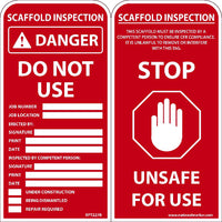 TAGS, Danger Do Not Use Scaffold Tag, 6x3, .015 MIL UNRIP VINYL, 25 PK