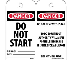 TAGS, DANGER DO NOT START, 6X3, UNRIP VINYL, 25/PK