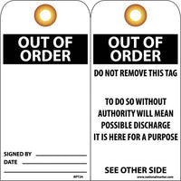 TAGS, OUT OF ORDER, 6X3, UNRIP VINYL, 25/PK W/ GROMMET