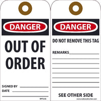 TAGS, DANGER OUT OF ORDER TAG, 25PK, 6X3, .015 UNRIPPABLE VINYL WITH GROMMET, ZIP TIES INCLUDED