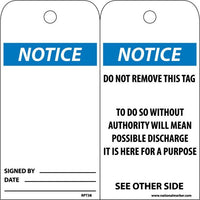 TAGS, NOTICE, 6X3, UNRIP VINYL, 25/PK