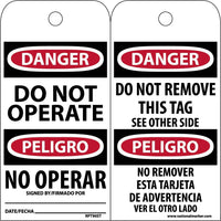 TAGS, DANGER, DO NOT OPERATE, BILINGUAL, 6X3, SYNTHETIC PAPER, 25/PK (HOLE)