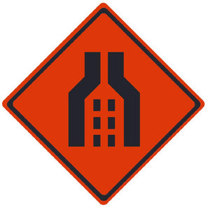 TRAFFIC, DOUBLE MERGE, 36X36, ROLL UP SIGN, MESH MATERIAL