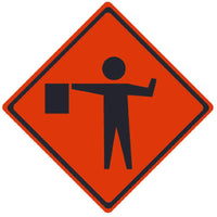 TRAFFIC, FLAGMAN SYMBOL, 36X36, ROLL UP SIGN, MESH MATERIAL