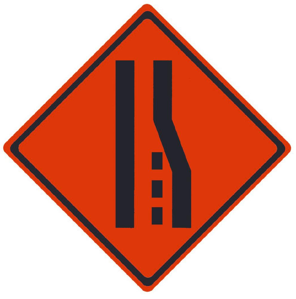 TRAFFIC, MERGE LEFT SYMBOL, 36X36, ROLL UP SIGN, MESH MATERIAL