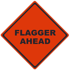 TRAFFIC, FLAGGER AHEAD, 48X48, ROLL UP SIGN, MESH MATERIAL