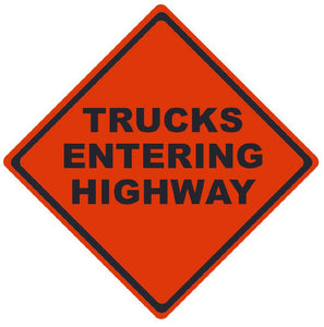 TRAFFIC, TRUCKS ENTERING HIGHWAY, 36X36, ROLL UP SIGN, MICROPRISMATIC REFLECTIVE MATERIAL