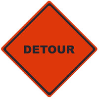 TRAFFIC, DETOUR, 36X36, ROLL UP SIGN, REFLECTIVE VINYL MATERIAL