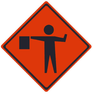TRAFFIC, FLAGMAN SYMBOL, 36X36, ROLL UP SIGN, REFLECTIVE VINYL MATERIAL