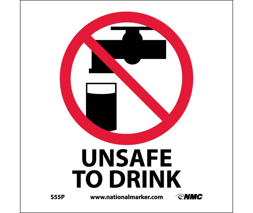 "S55P National Marker Unsafe To Drink No Header Sign 7"" x 7"".004 Adhesive Backed Vinyl"